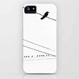 Birds on a wire in the winter iPhone Case