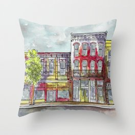 Red southwestern cityscape II Throw Pillow