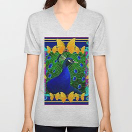 Decorative Blue Peacock & Yellow Butterflies Art Unisex V-Neck