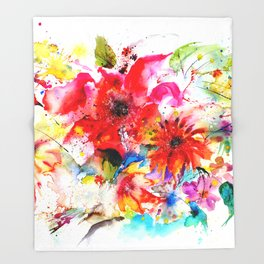 Watercolor garden II Throw Blanket