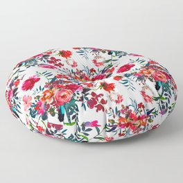 Bohemian pink green hand painted floral feathers pattern Floor Pillow