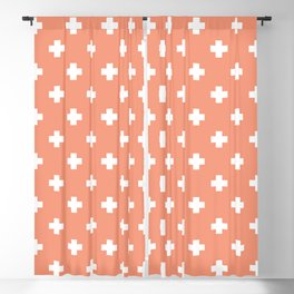 White Swiss Cross Pattern on Coral background Blackout Curtain