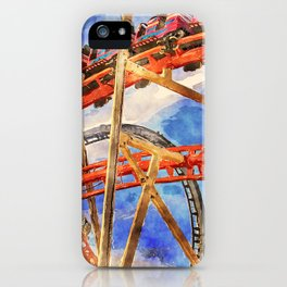 Fun on the roller coaster, close up iPhone Case