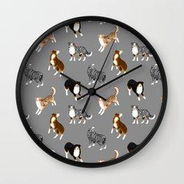 Australian Shepherd Pattern (Gray Background) Wall Clock