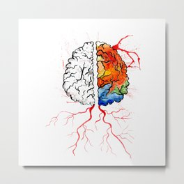 Rainbow human brain Metal Print