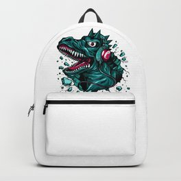 Dino with Headphones Green Cyprus Backpack