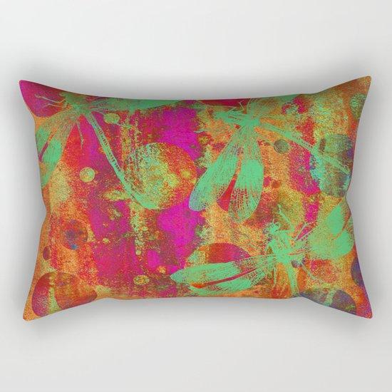 A Dragonflies and Dots W Rectangular Pillow