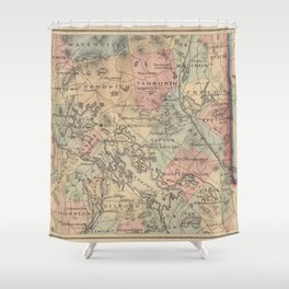Vintage Map of The NH Lakes Region (1890) Shower Curtain