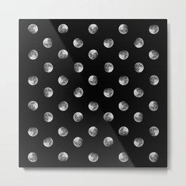 Lunar Moon - black Metal Print