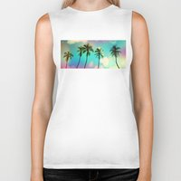 palm trees Biker Tanks featuring Palm trees  by mark ashkenazi