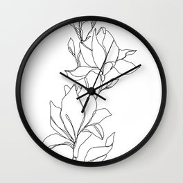 Botanical illustration line drawing - Magnolia Wall Clock