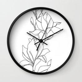 Botanical illustration line drawing - Magnolia Wall Clock