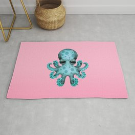 Cute Blue and Pink Baby Octopus Rug
