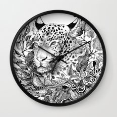 black and white jungle leopard Wall Clock