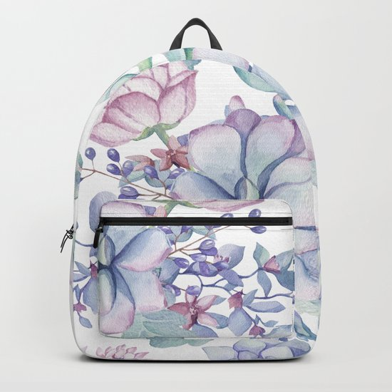 Pretty Blue Pink Succulents Garden Backpack