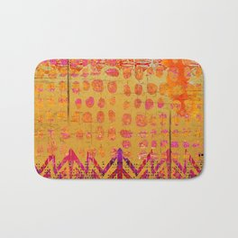 Gold and Orange Dot Abstract Art Collage Bath Mat