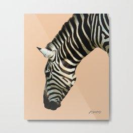 Zebra by Kokatu PEACH Metal Print