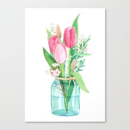 tulips in the jar Canvas Print
