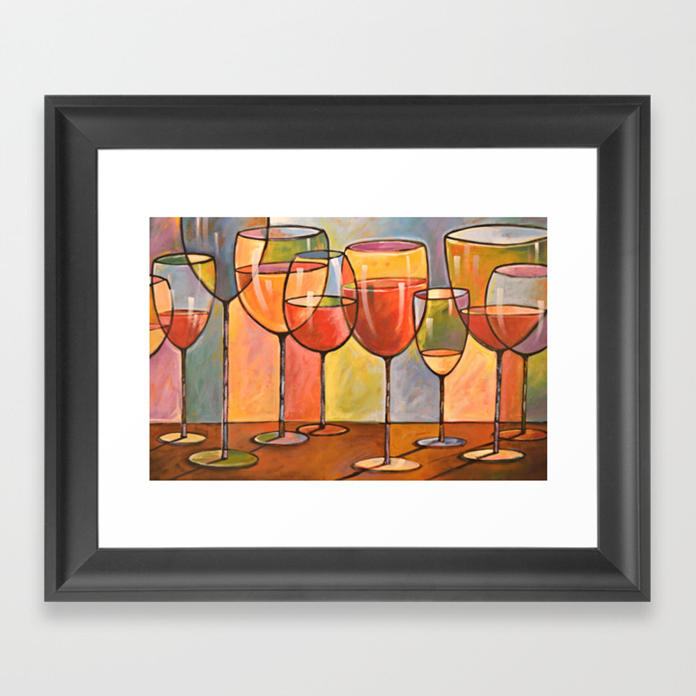 Whites And Reds ... Abstract Wine Glass Art, Kitch… Framed Art Print by Amygiacomelli FRM971247
