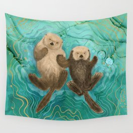Otters Holding Paws, Floating in Emerald Waters Wall Tapestry