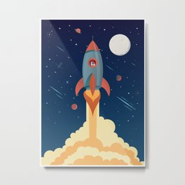 SPACE ROCKET illustration Metal Print