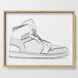 sneaker illustration pop art drawing - black and white graphic Serving Tray