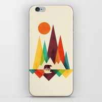outdoor iPhone & iPod Skins featuring Bear In Whimsical Wild by Picomodi