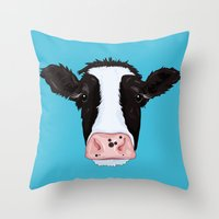 cow Throw Pillows featuring Cow by Compassion Collective