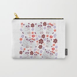 Square poster with cute pandas couples in love with flowers, speech bubble with love emoji, polka dots isolated on white background. Square poster design with cute animals. Valentines day postcard Carry-All Pouch