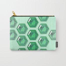 Green Gradient Hexagon Gemstones Carry-All Pouch