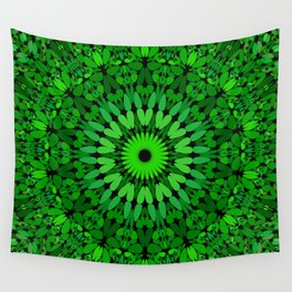 Deep Green Leaves Mandala Wall Tapestry