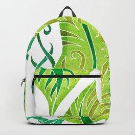 Leaf - Exotic Boho Leaf Pattern - Colorful, Modern, Tropical Art - Green, Shamrock, Lime Backpack