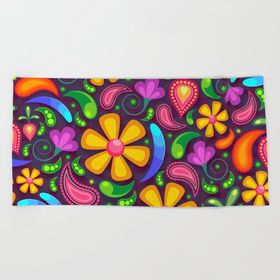 Brightly Colored Yellow Floral Pattern Beach Towel
