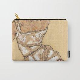 """Egon Schiele """"Weiblicher torso in unterwasche und schwarzen strumpfen"""" Carry-All Pouch"""