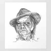 neil young Art Prints featuring Neil Young by Mark T. Zeilman