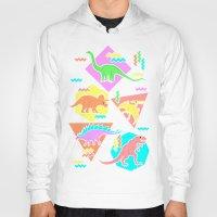 yetiland Hoodies featuring Nineties Dinosaur Pattern by chobopop