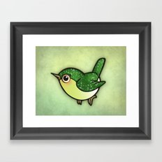 Cute Green Bird Framed Art Print