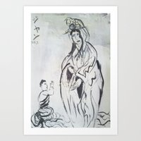 budi satria kwan Art Prints featuring KWAN YIN by JANUARY FROST