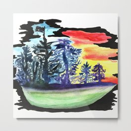 Tree line Ship on the Darkest Night covered in colors and drenched in Swag Metal Print
