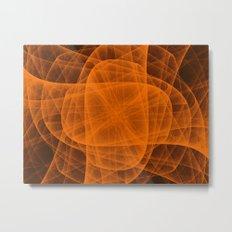 Fractal Eternal Rounded Cross in Orange-Brown Metal Print