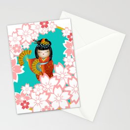 Japanese Kokeshi Doll Geisha Sakura Cherry Blossom Stationery Cards