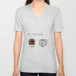 Toast and toaster with text (I'm sick of you) Unisex V-Neck