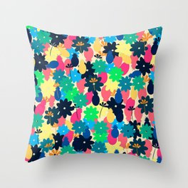Flowers and pineapples Throw Pillow