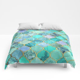 Cool Jade & Icy Mint Decorative Moroccan Tile Pattern Comforters