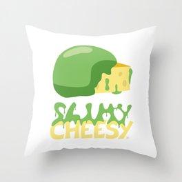 Slimy cheesy Throw Pillow