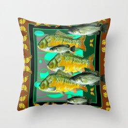 YELLOW MONARCH BUTTERFLIES & BROWN  FISH VIGNETTE Throw Pillow