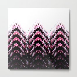 Abstract artistic pink teal black zigzag chevron pattern Metal Print