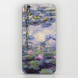 1917 Water Lilies oil on canvas. Claude Monet. Vintage fine art. iPhone Skin