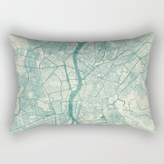 Cairo Map Blue Vintage Rectangular Pillow