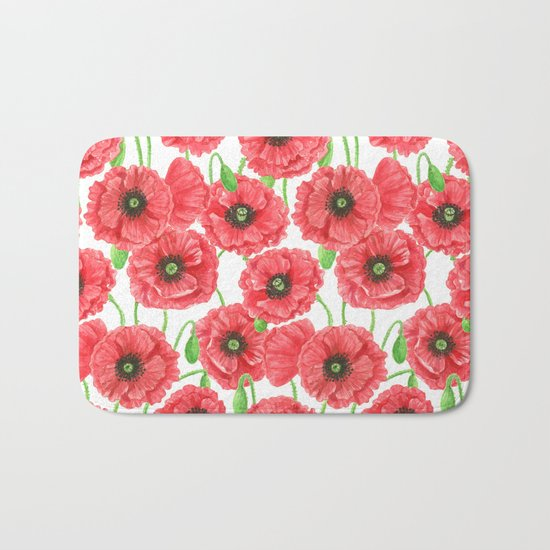 Watercolor poppies floral pattern Bath Mat